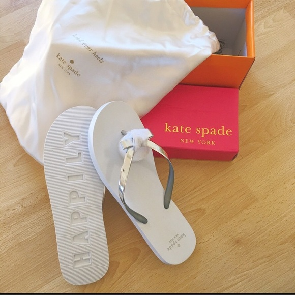 39a6b02f764 NEW Kate Spade bridal wedding flip flops bow